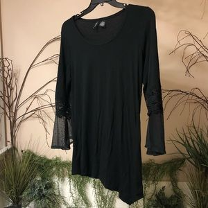 Long sleeved black shirt with dot mesh/lace Size M
